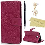 J5 2017 Case ,Galaxy J5 Case /J530 Case (2017 Model) - Mavis's Diary Wallet Case PU Leather Flip Case Mandala Emobssed Cover Rubber Back Holder Magnetic Clip & Card Holders/Stand Case for Samsung J530FD Galaxy J5 (2017) - with Phone Charm & Stylus - Deep Pink