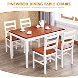 UEnjoy Kitchen Dining Table and 4 Chairs Set, Solid Pine Wood, White/Honey, 118 x 75 x 73 cm