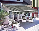 Greenbay 3 x 2.5m DIY Patio Retractable Manual Awning Garden Sun Shade Canopy Gazebo Multi-Stripe with Fittings and Crank Handle
