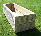 Adtrad Tanalised Hand Made Wooden Planter Trough in Three lengths and Three Widths - Customs Sizes Avaiilable (90cm x 32cm x 34cm)