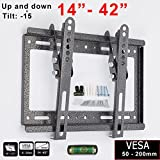 Safekom 14'- 42' Inches TV Wall Bracket Mount Tilt With Built in Spirit Level For 14 19 21 24 29 30 32 37 40 42'' Inch Vesa Size 50-200mm 3D Samsung Sony LG Screen Plasma LCD LED Stand Holder
