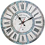 ZWOOS Wall Clocks, 12' Decorative Wooden Retro Clock Battery Operated Non Ticking for Kids Bedrooms, Living Room, Bathroom