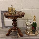 """Stylla London Solid Sheesham 15"""" Handmade Pedestal Side Table End Dining Table or Coffee Table with Full Brass for Living Room"""