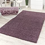 Shaggy High-Pile Rug Mottled Purple One Colour Clearance Sale, Size:160x220 cm