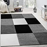 Rug Modern Living Room Short Pile Checked Design Grey Black White CLEARANCE SALE, Size:80x150 cm