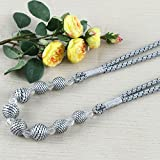 Do4U Earle Beaded Curtain Tieback Curtain Tie Back Bead Grey Crystal Beaded Rope Curtain Tie Backs Sold by 1 PC (Grey)