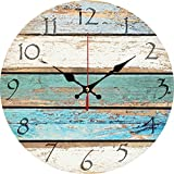 Yung Jo 12' Vintage France Paris Colorful Country Tuscan Style Arabic Number Design Wooden Round Decorative Wall Clock (Colorful)