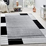 Designer Rug Living Room Rug Border in Grey Black Cream Unbeatable Deal, Size:160x220 cm