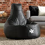 i-eX Gaming Chair - Black - Faux Leather Gaming Bean Bag - Video Gaming Entertainment Chair (Black)