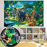 GREAT ART Wall Mural Kid's Room Jungle Animals Decoration Zoo Safari paperhanging wall decor (82.7x55 Inch / 210x140 cm)