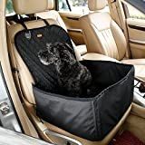 Pet Bucket Seat Cover Booster Seat 2 in 1 Deluxe Dog& Cat Front Seat Cover for Cars Non- Slip Backing Waterproof (Black)