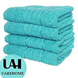 SET OF 4 PURE EGYPTIAN COTTON TOWELS BATHROOM GIFT SET JUMBO SHEET BALE TOWELS (Bath Sheet, Aqua)