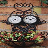 Hanging Vintage Garden Ornament - 3 In 1 Clock, Planter & Thermometer Decoration / Gardening Garden Patio Stuff Items Gadgets Yard Lawn Garage Gloves Layout Landscape Plant Botanical Furniture Design Landscaping Vegetable Flower Container Front Back Home House Backyard Planning Small Large Modern Simple Gift Outdoor Outside Contemporary Unique Special Store Shop Green Herbs