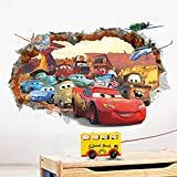 ufengke 3D Damaged Wall Cartoon Cars Aircrafts Wall Decals, Children's Room Nursery Removable Wall Stickers Murals