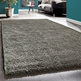 Shaggy Rug Deep Pile Long Pile Living Room Rugs XXL Plain Brown Taupe, Size:10x10 cm Sample