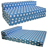 STANDARD SOFABED - double Sofa bed Single Chair Z bed Guest Childrens Futon (Blue Stars)