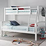 Happy Beds American Triple Sleeper Bunk Bed White Wooden Kids Bedroom Furniture Frame Only 3' Single Top 90 x 190 cm and 4' Small Double Bottom 120 x 190 cm