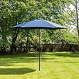 3m Aluminium Wind up Garden Parasol Sun Shade Patio Outdoor Umbrella - Choice of Colours (Navy Blue)