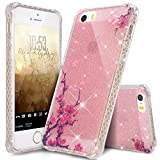 iPod Touch 6 Case,iPod Touch 5 Case,ikasus Glitter TPU Case Cover for iPod Touch 5 6th,Crystal Clear with Luxury Bling Glitter Sparkle Anti-color Fading IMD Colorful Panited Pattern Scratch-Resistant Ultra Slim Thin Flexible Soft Silicone TPU Bumper Rubber Protective Case Cover for Apple iPod Touch 6 6th / iPod Touch 5 5th Generation - Pink Plum Blossom