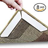 Rug Gripper, Anumit Home Non Slip Sticker Carpet Pad With Anti Curling, Multi Purpose Reusuable Nano Gel Pads for Office Kitchen Bathroom, 8 Pcs (White)