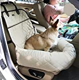 AnGe Pet Dog Cat Car Booster Seat Bag Carrier, Funtional Pet Booster Bed Deluxe Dog Pet Car Seat Cover Bed&Lounge , beige