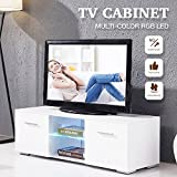 SUNCOO 120cm White High Gloss TV Unit Cabinet TV Stand FREE LED 2 Drawers 2 Shelves for Living Room up to 40' TV Screens