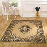 Extra Large Quality Traditional Medallion Design Soft Oriental Rug Mats, Beige - 180 x 250cm (6'x8')