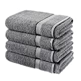 LUXURY 4 PACK BATH SHEETS 100% COTTON STRIPE BATHROOM SHOWER SHEET NEW (GREY)