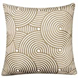 Ideal Textiles Lucy Cushion Cover, Modern Embroidered Cushion Covers, Knitted Style Detailing, Throw Pillow Cushion Cases, 18' x 18', 45cm x 45cm, Taupe, Beige, White