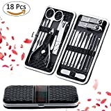 Fixget 18 in 1 Nail Clippers Set Pedicure Kit Stainless Steel Nail Clipper, Professional Nail Scissors Grooming Kit Manicure Includes Cuticle Remover Tools With Portable Travel Case (18pcs Black)