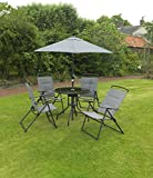 Kingfisher 6 Piece Grey Padded Chairs x4, Glass Table and Parasol Garden Patio Furniture Set