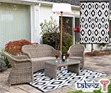 Samti Outdoor Patio Rug Bohemian Moroccan Themed Authentic Indian Garden Carpet - Black (1.2m x 1.8m)