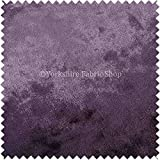 New Soft Rich Plush Crushed Velvet Fabric Ideal For Blinds Cushions Upholstery Curtains Sofas Furniture Purple Plum Colour - Sold By The Meter