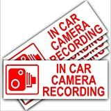 5 x Small In Car Camera Recording Stickers-See Colour Availability-Orange,Red or White Printed-CCTV Sign-Van,Lorry,Truck,Taxi,Bus,Mini Cab,Minicab-Security-Window,External,Tinted-Go Pro,Dashcam (Red on White - External Application)