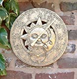Garden Mile Large Vintage Sun & Moon Garden Indoor/Outdoor Wall Clock Thermometer Decorative Fence Ornament Thermometer Mountable Weatherproof Weather Station Thermometer Suitable for Kitchen / Home (Bronze Sun & Moon 30cm Clock (GCLOCK10))