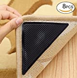 Rug Grippers, Carpet Rubber Anti-skid Pad with Strong Sticky Double Sided Carpet Tape By Yesreal (8PCS, Black)