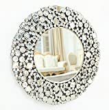 Richtop Large Wall Mirror With Round Bevelled Glitter Jewelled Mosaic Frame Silver Wall Mounted Mirror For Living Room Bedroom 27.56x27.62''(70X70CM)