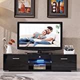 UEnjoy Modern High Gloss 160cm/63inch Black TV Stand Unit Cabinet with LED Shelves 2 Drawers Living Room Furniture