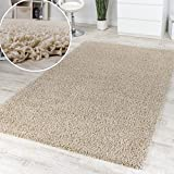 Shaggy High-Pile Rug Ivory and Cream Clearance Sale Great Price, Size:60x100 cm