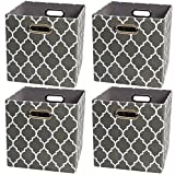 Posprica Collapsible Storage Basket Bins, Fabric Organizer Boxes Cubes Containers Divider for Shelf,Drawers,Cabinet, Closet (Set of 4, Grey)