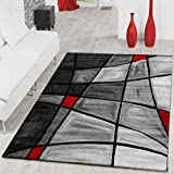 Rug Living Room Rug Contour Cut In Grey Red Black CLEARANCE SALE, 120x170 cm