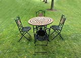 Kingfisher 5 Piece Black Mosaic Bistro Garden Patio Furniture Set