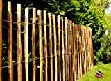 Floranica - Impregnated picket fencing in 14 sizes with well-split, equal-sized pickets and safe tips for use as garden fencing, protective pond fencing, wooden rolling fencing. Type of wood: hazelnut wood (Corylus avellana) - length: 5 m, bar distance:(3-4 cm), Height:50 cm