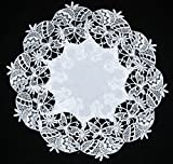 Lovely Easter White Round Lace Embroidered Doily Napkin Placemat Table runner 30-40 cm (D1, 40cm)