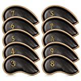 Iron Head Covers10 pcs Golf Club Head Cover Set with Numbers on Both Side Velcro Closure Design Golf Protect Cover Fit Most Irons and Wedges